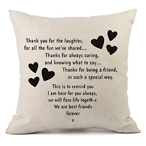 NYKKOLA Throw Pillow Case Decor Cushion Covers,Best Gifts to Sisters we are Best Friends Forever Friends, Simple Home Decor Design Square 18x18 Inch Beige Cotton Blend Linen