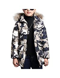 OCHENTA Big Boy's Winter Cotton Thick Hooded Parka Outwear Coat Age of 4-11