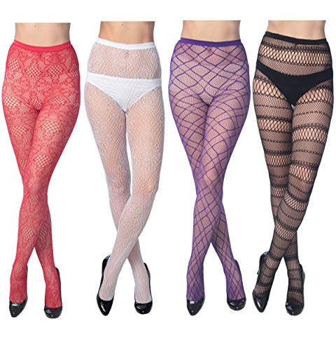 4 Pack Sexy Fishnet Stoking Tights Hosiery For Women By Frenchic Extended Sizes (S/M, Multi #3)