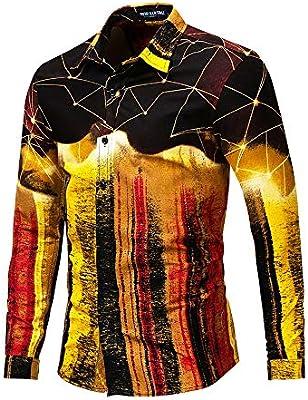 Mezcla de Colores para Hombres Diseño Friki Impreso Slim Fit Camisa de Vestir con Botones y Manga Larga Tops Camisa Casual con Cuello Abotonado (Color : Oro, tamaño : L): Amazon.es: Hogar