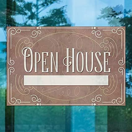 5-Pack Victorian Card Clear Window Cling Open House 30x20 CGSignLab