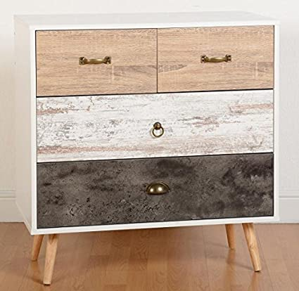 Nordica 2 + 2 Drawer Bedside Chest in White & Distressed Effect from Modern Living