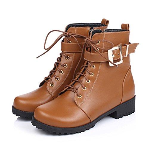 Rond Bout Jaunes Dentelle Pour Chaussures Chaudes Plat Jusqu'à Zip Agodor Womens Bottines Boucle Avec Dames gzq5A68