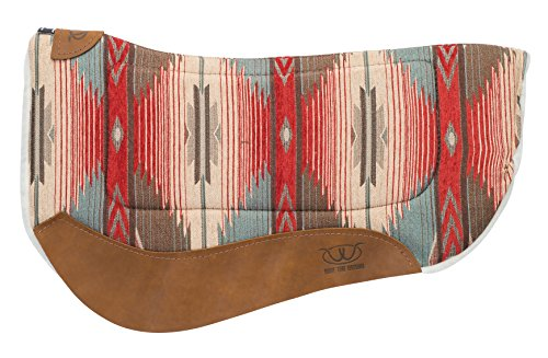 (Weaver Leather All Purpose Contoured Barrel Saddle Pad, Red/Turquoise)