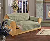 Elegant Comfort Quilted Furniture Protector for Pet Dog Children Kids -2 Ties to Stop Slipping Off Treatment Microfiber As Soft as Egyptian Cotton, Natural Sofa Green/CreamSofa