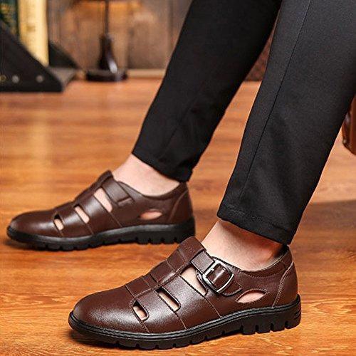 Scarpe EU uomo pelle in leggero vera traspirante Dimensione classiche 39 Taglio bovina Marrone shoes Color Meimei Marrone da 5aqfHw