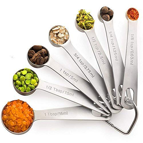 PALADA Stainless Set of 7-Small Tablespoon to 1/8 Metal Teaspoon Set Mini measuring spoons Medium Steel