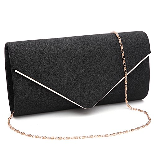 GESU Womens Shining Envelope Clutch Purses Evening Bag Handbags For Wedding and Party.(Black) by GESU