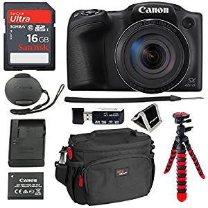 Canon PowerShot SX420 Digital Camera 42x Optical Zoom Wi-Fi NFC Enabled, SanDisk Ultra 16GB, DSLR Camera Bag, 12