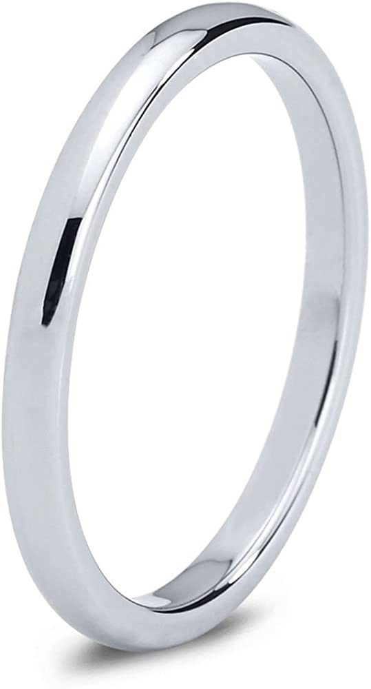 Charming Jewelers Tungsten Wedding Band Ring 2mm Men Women Comfort Fit Grey 18k Rose Yellow Gold Plated Dome Polished