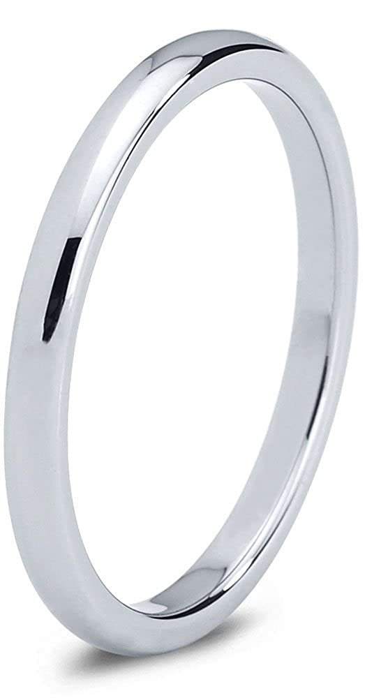 Tungsten Wedding Band Ring 2mm for Men Women Comfort Fit Domed Polished Charming Jewelers CJCDN-7002