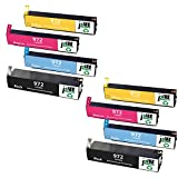 J2INK 8 Pack High Yield Ink Cartridge Replacement for 972 972A PageWide Ink Cartridge Black Cyan Magenta Yellow F6T80AN LOR86AN LOR89AN LOR92AN