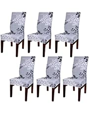 BTSKY 6 Pack Super Fit Stretch Washable Printed Dining Chair Protector Cover Seat, Removable Slipcover for Hotel Dining Room Ceremony Banquet Wedding Party, Grey Flower