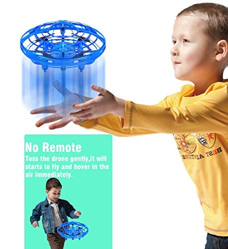 POWERbeast RC Flying Toys for Kids Boys Girls Gifts,Obstacle Avoidance,360°Rotation ,Interactive RC Mini Drone with 2 Speed Model,RC Flying Ball and Fan Toy for Children Family (Blue)