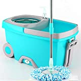 Stainless Steel Spinning Mop,with Extended Handle, 2X Wheels, 3 Microfiber Replacement Head, Drain Outlet, Detergent Dispenser