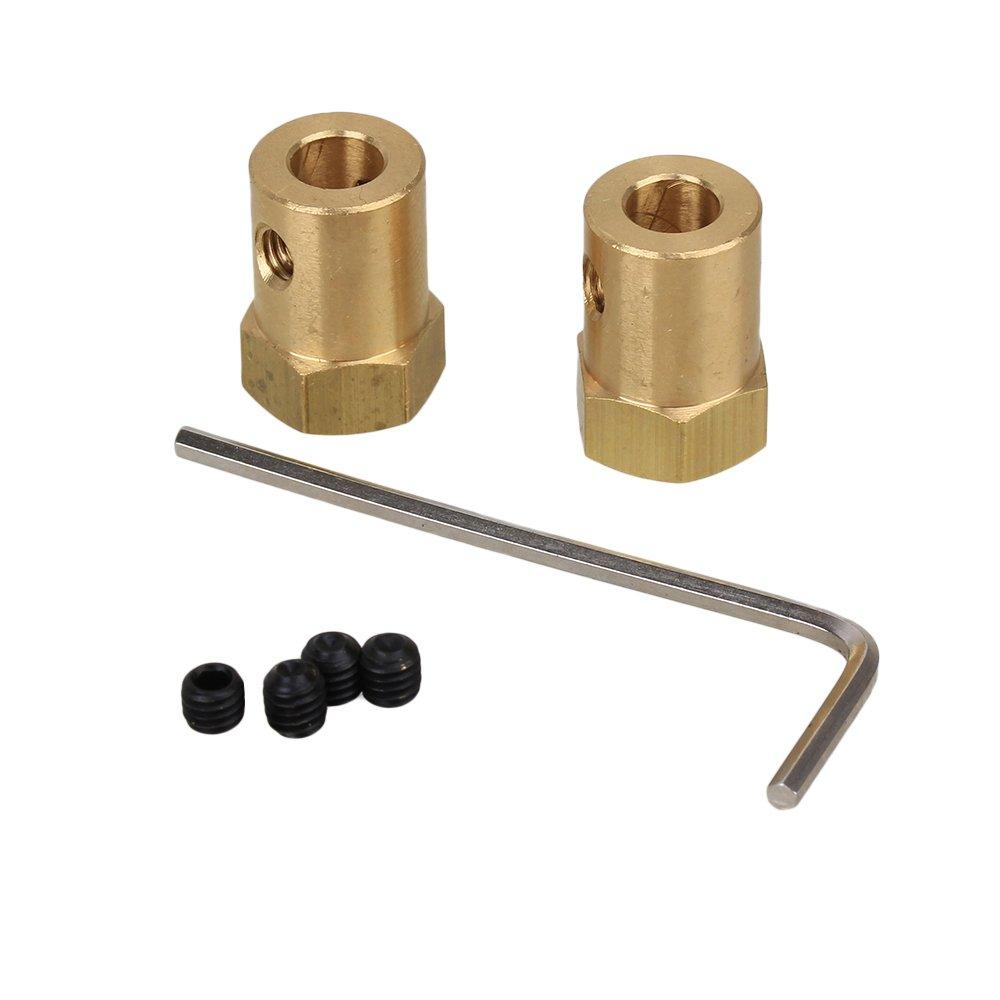 Messing goldfarben Sourcingmap Sechskant-Kupplung 3 mm 2 St/ück