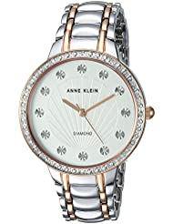 Anne Klein Womens AK/2781SVRT Diamond-Accented Silver-Tone and Rose Gold-Tone Bracelet Watch