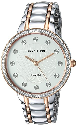 Diamond Silver Tone Watch - Anne Klein Women's AK/2781SVRT Diamond-Accented Silver-Tone and Rose Gold-Tone Bracelet Watch