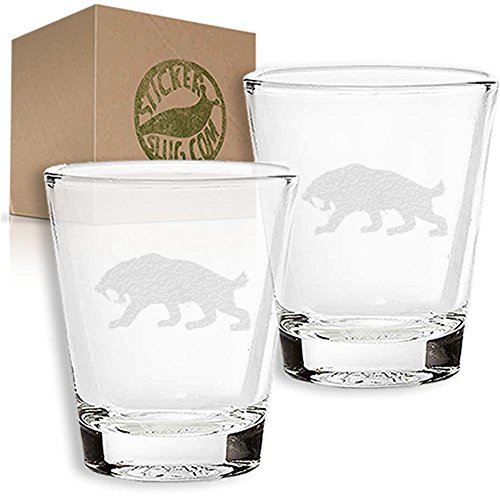 Stickerslug Engraved Sabertooth Tiger Shot Glasses, 1.5 ounce, Set of 2 (Glass Sabertooth)