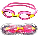 COPOZZ Kids Swimming Goggles, Child (Age 4-12) Waterproof Swim Goggles with Clear Vision Anti Fog UV Protection No Leak Soft Silicone Frame and Strap for Kid Boys Girls and Early Teens