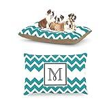 Kess InHouse Chevron Blue Teal Fleece Dog Bed, 30 by 40-Inch, Monogram Letter-M