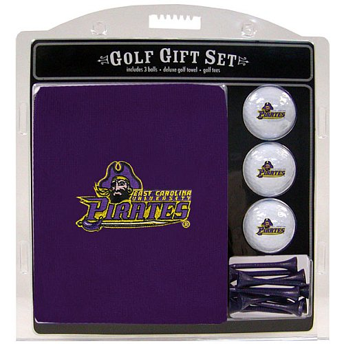 (Team Golf NCAA East Carolina Pirates Gift Set Embroidered Golf Towel, 3 Golf Balls, and 14 Golf Tees 2-3/4