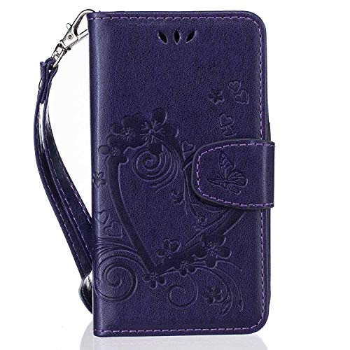 The Grafu Galaxy J1 2016 Case, Shockproof PU Leather Wallet Cover with Soft TPU Bumper, Flip Book Style Case for Samsung Galaxy J1 2016, Purple