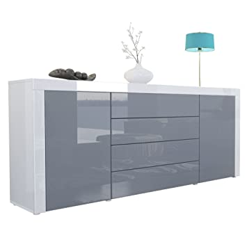 Vladon Sideboard Chest Drawers La Paz Carcass In White High Gloss Front In Grey High Gloss A Frame In White High Gloss