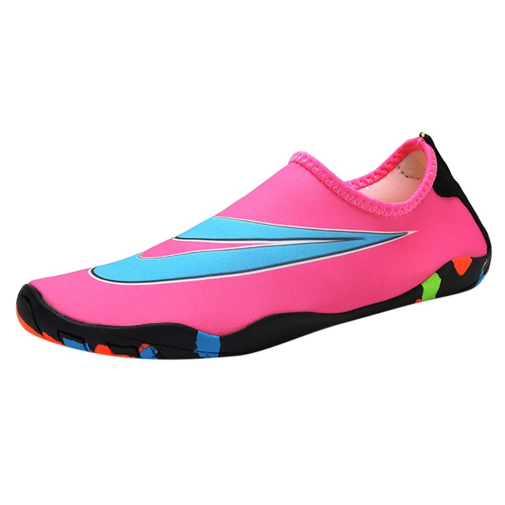 NUWFOR Couple Beach Shoes Swimming Shoes Water Shoes Barefoot Quick Dry Aqua Shoes(Pink,7 M US Length:9.3'')