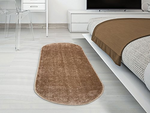 Ottomanson Softy Collection Camel Color Oval Rug, 2'2