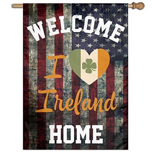 I Love Ireland Welcome Yard Garden Flag Polyester Banners Patio Seasonal Holiday Family Flag Decorative House Yard Flag Garden Outdoor Decoration 27
