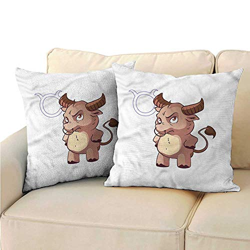 (Pillow Covers Zodiac Taurus Funny Baby Bull Cushion Case for Sofa Bedroom Car 18
