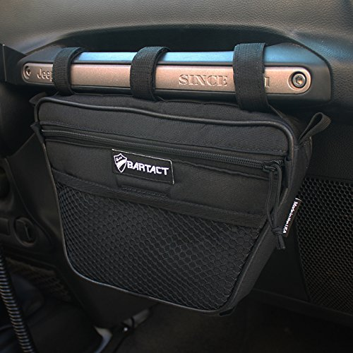 1PC Passenger Grab Handles Accessory Storage Pouch Organizer Bag for 1965-2018 Jeep Wrangler JK JL TJ YJ CJ MINGLI Black Mesh UV Protected Polyester Dash Tools Bags