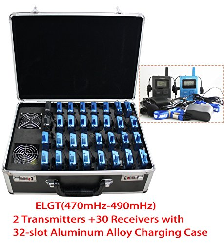(EXMAX Wireless Tour Guide/Monitoring Audio System with Charge Case for Tour Guide,Tourism,Conference,Training,Church,Outdoor Scenic Spots(2 Transmitters 30 Receivers with 32-slot Charging Case))