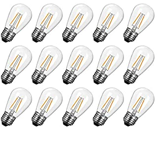 S14 LED Light Bulbs 2700K, Warm White, Shatterproof Lightbulbs Equivalent to 11 W, Dimmable E26 E27 Shatterproof Replacement Bulb for Home Light Fixtures and Decorative,15 PC