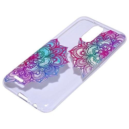 Funda LG K10 2017,Funda para LG K10 2017,Surakey de Silicona Transparente con Patrón de Diseño ,Simple Soft Silicone Case Cover Funda Protectora Carcasa ,Claro Caso Flexible Suave Caja Delgado Ligero  Flores