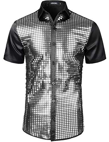 Silver Mens Costumes - JOGAL Mens Dress Shirt Silver Sequins