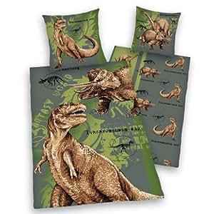 Herding 445101050 - Juego de funda nórdica infantil de linón con diseño de dinosaurios (80 x 80 cm + 135 x 200 cm)
