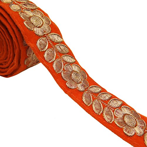Orange Floral Embroidered Ribbon Trim 3.3 Cm Crafting Trimming Supply By The Yard