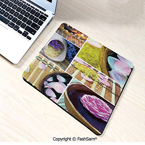 Desk Mat Mouse Pad Spa Organic Cosmetics Theme Wooden Bowl Petals Lavender Candle Pebbles Therapy Oil for Office(W7.8xL9.45) - Estate Round Bowls