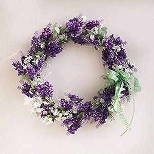 SunriseMall 14 Inch Handmade Wreath, Purple Lavender Floral Artificial Simulation Flowers Garland, European Door Ornament, for Venue Arrangement, Wedding Props, Party Home Door Decor 104
