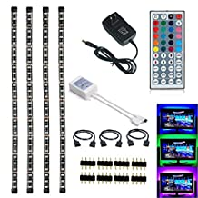 Topled Light RGB TV PC LED Strip Light Kit 4x50cm with 44Keys Remote Controller for HDTV Laptop Notebook (Adaptor Black Panel Kit)