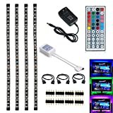 Topled Light® LED TV Backlight Kit, 4x1.64ft Bias Lighting RGB Color Changing with 44Keys Remote + Power Adapter LED Strip Backlight Kit for HDTV Flat Screen LCD, Desktop PC