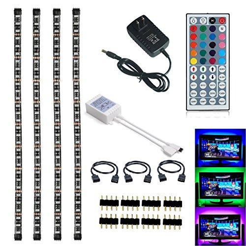 4 Light Kit (LED TV Backlight Kit, Topled Light® 4x1.64ft Bias Lighting RGB Color Changing with 44Keys Remote + Power Adapter LED Strip Backlight Kit for HDTV Flat Screen LCD, Desktop PC(Backlight Kit)))