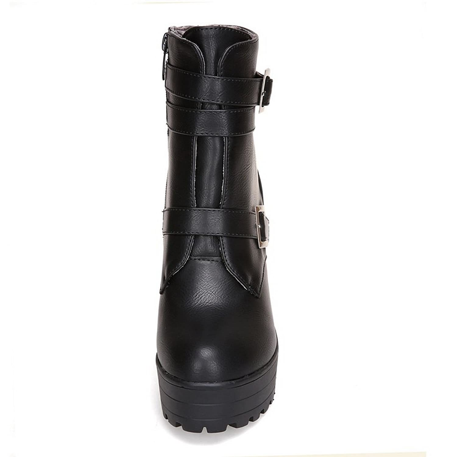 1TO9 Womens Fashion Cone-Shape Heel Buckle Zipper Imitated Leather Boots