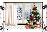 LB 9x6ft Christmas Tree Backdrops for Photography Winter Snow Scene Wooden Floor Christmas Party Photo Background Customized Vinyl Photobooth Studio Props