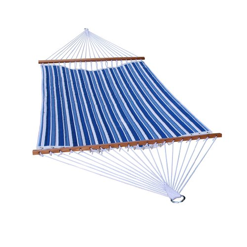 Algoma 2789W-135142 Two Point Quilted Reversible Hammock, Tropical Palm Stripe Blue/Norway Powder Blue Spun Polyester ()