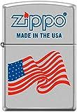 Zippo USA Flag Zippo Logo WindProof Lighter Satin Chrome *RARE*