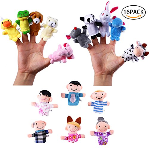 Velvet Animal Family Finger Puppets Soft Little Cartoon Plush Doll Toys for Kids Story Time Pre-School Education Pack of 16 (10 Animals and 6 - Doll Animal Puppet