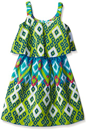Youngland Green - Youngland Little Girls' Blue and Green Printed Popover Sundress, Green/Multi, 2